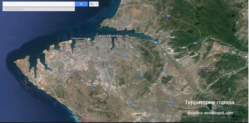 Севастополь настолько разросся, что включает в свои границы очень большую территорию.